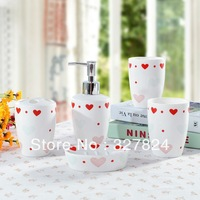 jingdezhen 5pcs love-shaped pattern bathroom set ceramic include Hand sanitizer bottle Toothpaste cup Soap tray Rinsing mug