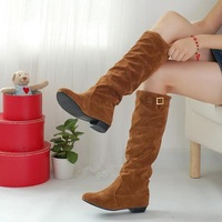 Boots female spring and autumn high-leg boots flat heel low-heeled boots autumn scrub single boots