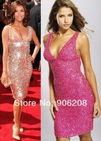 2014 new style Free shipping sequins short evening dress formal dress customize