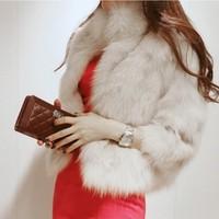 Free Shipping 2014  Winter Warm New Korean Fashion Luxury Quality Overcoats Women's Fur Coats Fur jacket Outerwear coats