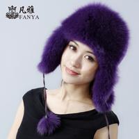 Top Quality Women Genuine Fox Fur Hat With Earflaps Women Cap For Russian Wholesale Winter Women Fur hat Free Shipping