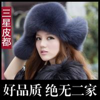 High Quality Christmas gift New Arrival Fashion women 100% genuine fox hair hat fashion fox fur cap warm cap Russian Winter Cap