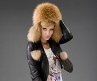 Top Quality Raccoon fur fur hat female winter ear protector cap women's genuine leather fox Russian Winter Cap