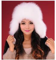 Free Shipping Fox fur hat female winter ear protector cap in Multicolor  women's genuine fox leather mink Russian Winter Cap