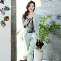 Piece set women's ETAM 2013 autumn slim set all-match short jacket trousers