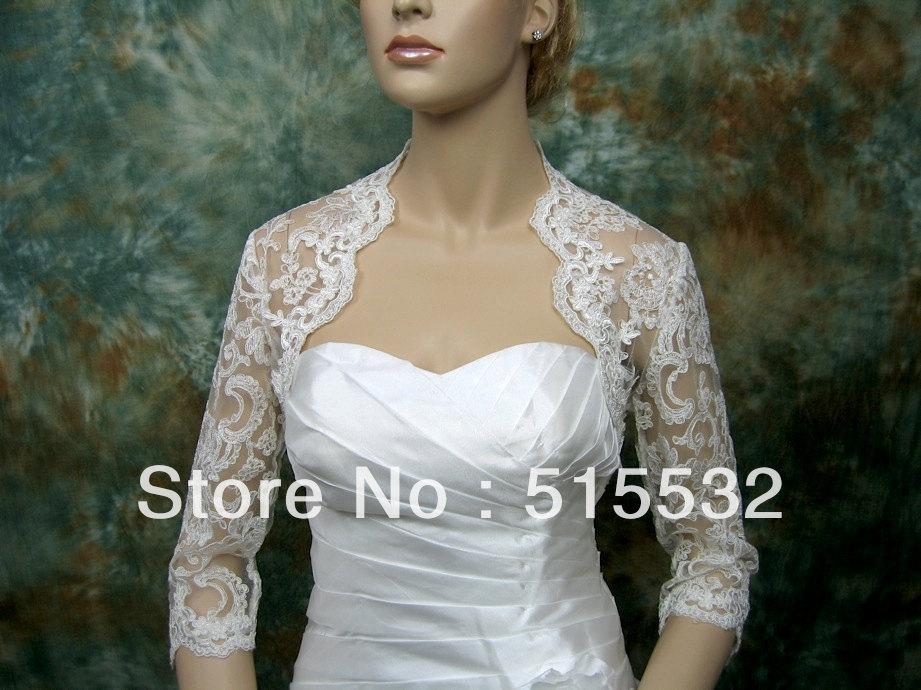 Spedizione gratuita 2013 pizzo nuovo 3/4 manica bianco avorio giacca da sposa bolero da sposa giacca da sposa bolero scrollata di spalle al6399 giacca da sposa