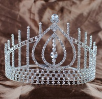 Beauty Austrian Rhinestone Water Drop Tiaras and Crowns Large Size H 12.5CM Bridal Wedding Pageant Party Fashion Jewelry