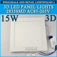 Wholesale 20pcs 3D New High brightness LED Panel Lights ceiling lighting Square 15W 2835SMD Cold white/warm white AC85-265V