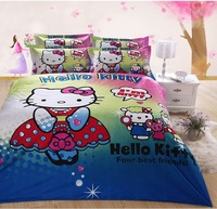 Hot sale!100% cotton hello kitty queen size queen king size 5pcs bedding set/ bed sheet/bedclothes for children bed linen