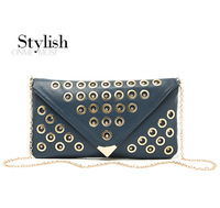 Punk rivet metal envelope chain women's handbag evening bag 400g  WW1040