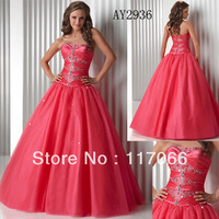 Custom made 2013 new arrival fashion red ball gown Tull beaded prom dresses