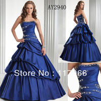 Free shipping 2013 new brand fashion blue red sweetheart beaded and draped Tull custom prom dresses ball gown