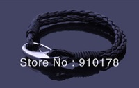 new arrival stainless steel leather weave man bracelet bangle titanium steel cuff bracelets fashion man jewelry