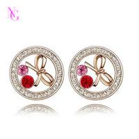 2013 latest hot sale fashion style rhinestone bow earrings