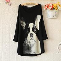 E4974-2014 women's print loose medium-long long-sleeve T-shirt sweatshirt 1014