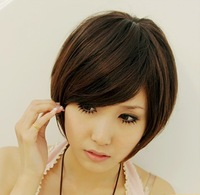 Elegant short hair wig girls oblique bangs short hair bobo wig