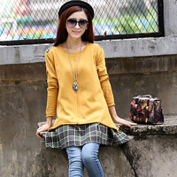 2013 women's autumn o-neck casual plaid double patchwork faux two piece sweater outerwear female