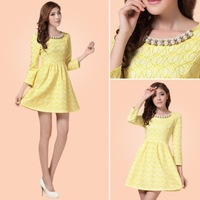 Fashion Women Spring 2014 Slim Sexy Solid Color Novelty Lace Dress Plus Size Summer Knee-length Dress