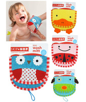 Free shipping 2pcs/lot High Quality Baby Children's Zoo Wash Mitt Soft Cotton Terry Animal Rubbing Bath