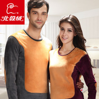 Lovers' suits of 4XL super soft wool THERMAL UNDERWEAR SET thickening plus velvet female male golden flower thermal set