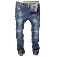 Free shipping 2013 winter new Korean version of Slim Men scull blue jeans denim trousers simple Volkswagen Specials
