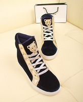 2013 autumn velcro platform canvas shoes female kero style  casual high-top shoes PU flat heel single shoes