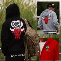 pullover zipper hoody  sweatshirts outdoor sport 2013 winter autumn brand dopechef Gongsta bull hiphop hip hop plus L-5XL men