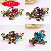 4pcs Moon and Flower Crystal Rhinestone Bronze Floral Hair Clip Claws Sticks