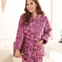 Autumn and winter cotton-padded coral fleece sleepwear women's thickening plus size cartoon cotton-padded jacket lounge set