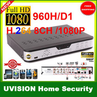 Security 8CH H.264 FUll D1 960H Real-time Recording 1080P HDMI Network DVR Support Iphone Android view free shpping
