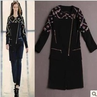 Free Shipping! 2014 Autumn New Fashion Fashion Style Full Sleeve Black Embroidery Zippers Trench Coat