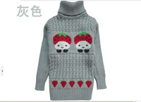The boy fall 2013 new girl baby turtle neck long sleeve autumn wear woolen sweater
