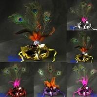 FREE SHIPPING Masquerade masks peacock wool ball light colored drawing mask    10pcs/set