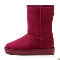 Female knee-high snow boots slip-resistant cow muscle genuine leather casual cotton shoes
