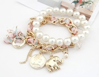 ( Min order $10 ) Free shipping hot sale Fashion Pendant double elephant Coin Pearl crystal rhinestone beads chain Bracelet 8137