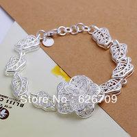 free shipping Factory price wholesale 925 solid Silver bracelet,fashion charm jewellry Big Flower chain Bracelet awya jofa JH244