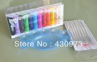Free Shipping 12 Colors Pro Acrylic Paint Nail Art Polish 3D Paint Decor 7pcs Brush Palette Design Tips Tube set