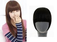 Real hair fake fringe maiqi lengthen invisible seamless hair fringe bangs false