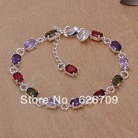 promotion Factory price wholesale 925solid Silver bracelet,fashion charm jewellry Color stone chain Bracelet axla josa JH258