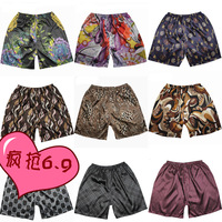 Male silk home casual plus size shorts breeched trunk pajama pants beach pants