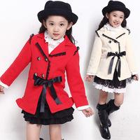 Hot 2013 children's clothing qiu dong Girls cotton lace long casual jacket children coat girls