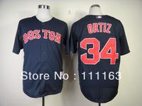 Baseball Jerseys Red Sox David Ortiz  #34 Cool Base  Jersey-White,Navy Blue,Red,Gray size:48~56+Mix Order, Free Shipping