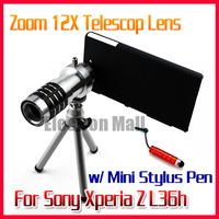 12X Zoom Metal Aluminum Camera Phone Telescope Lens +Mini Tripod +Back Case + Mini Stylus Pen for Sony Xperia Z L36h