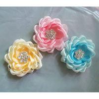 korean style baby headband Beaded lace ribbon large Flower hair Accessorie Baby hair bands baby female flower rhinestone flowers