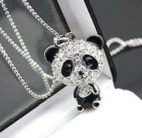 Min.order is $10 (mix order)SJB375 Fashion vintage Panda Chain Necklace JEWELRY