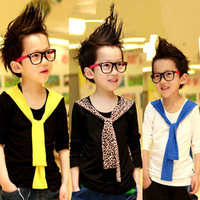 Male child 2013 autumn color block collar long-sleeve T-shirt belt