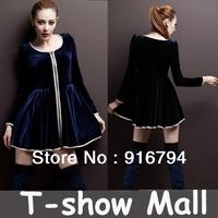 Free shipping! 2013 New designer Elegant women mini party/Evening/Bridesmaids long sleeve formal dress SY03