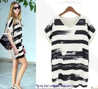 2015 summer fashion all-match loose basic fresh color block striped print dress knee-length women's vestidos