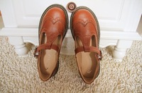 Vintage T hasp big head doll handmade leather student single shoes