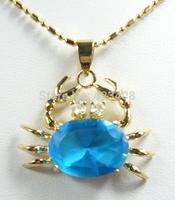 Crab Animal Pendant Necklace Multicolor Zircon&Austria rhinestone 18K Gold&Silver Plated Fashion women jewelry Christmas Gift